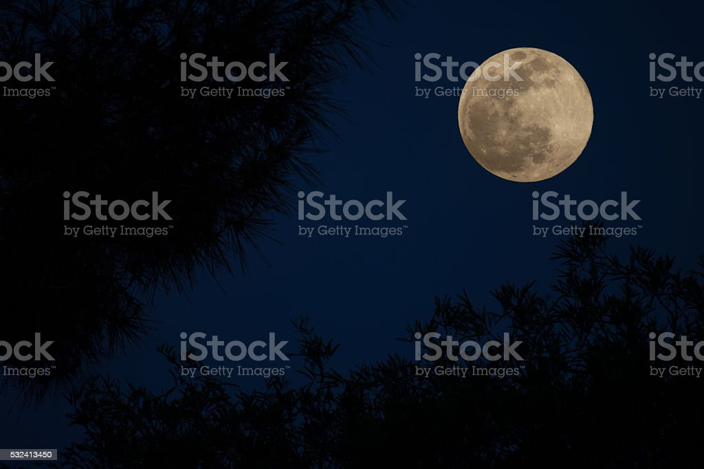 Full Moon, Deep Blue Sky stock photo