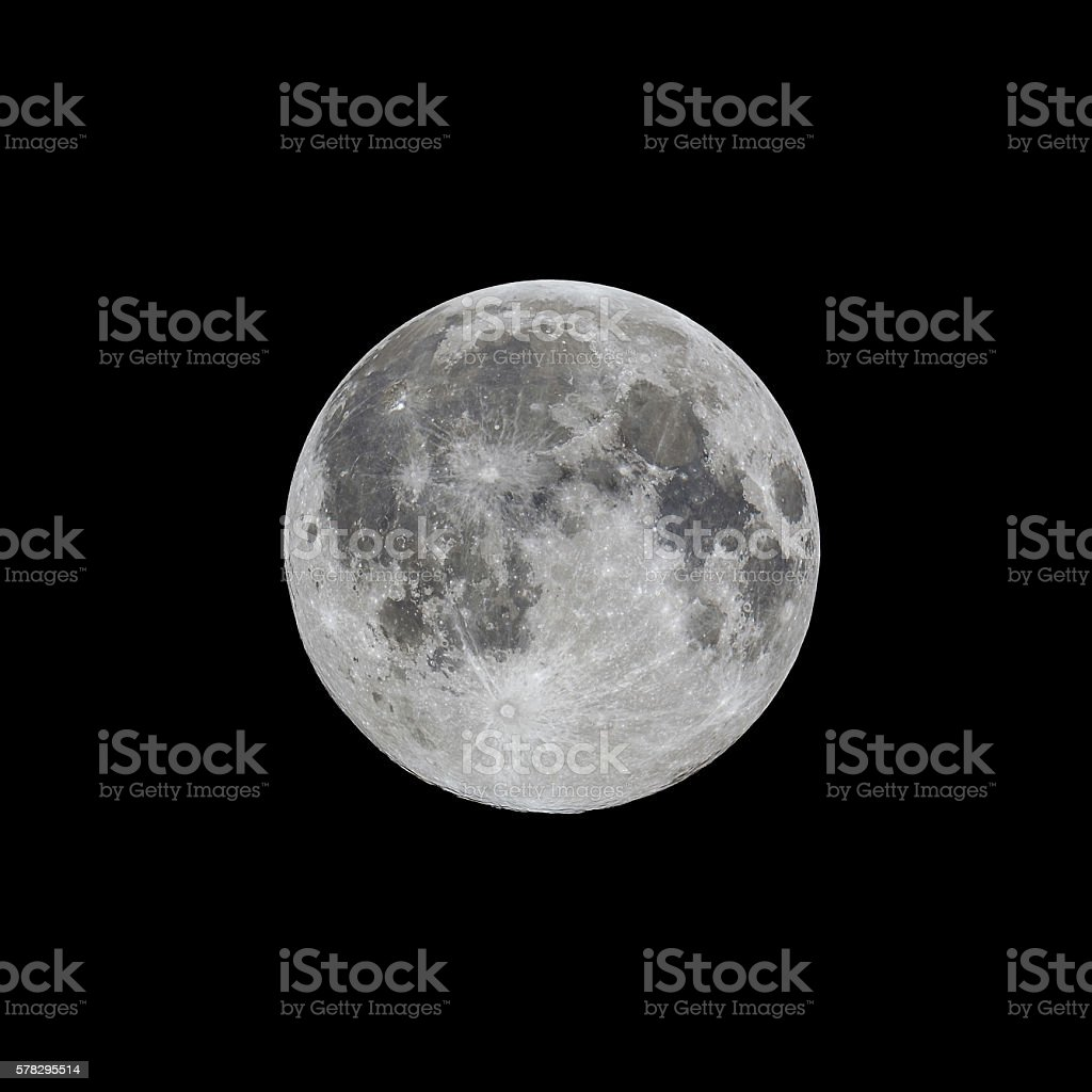 Full moon, high contrast stock photo