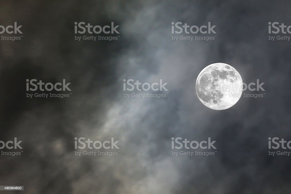 full moon in cloud stock photo