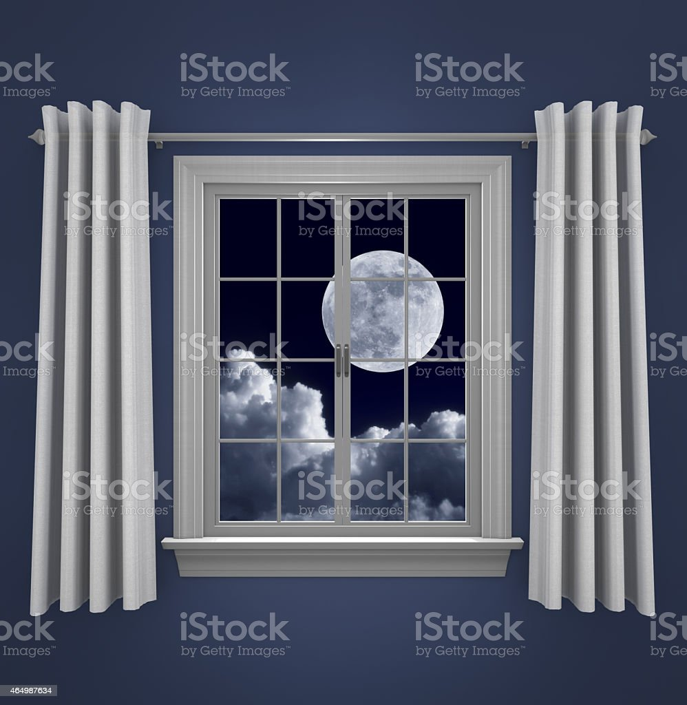 Window at night from inside - Full Moon In Night Sky Shining Through A Bedroom Window Stock Photo