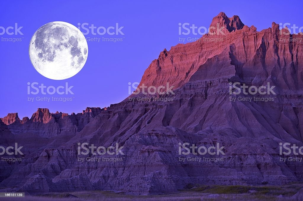 Full Moon in the Badlands stock photo
