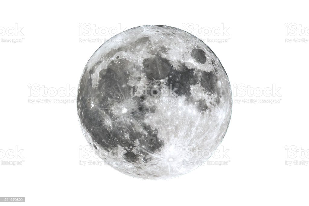 Full Moon isolated on white stock photo