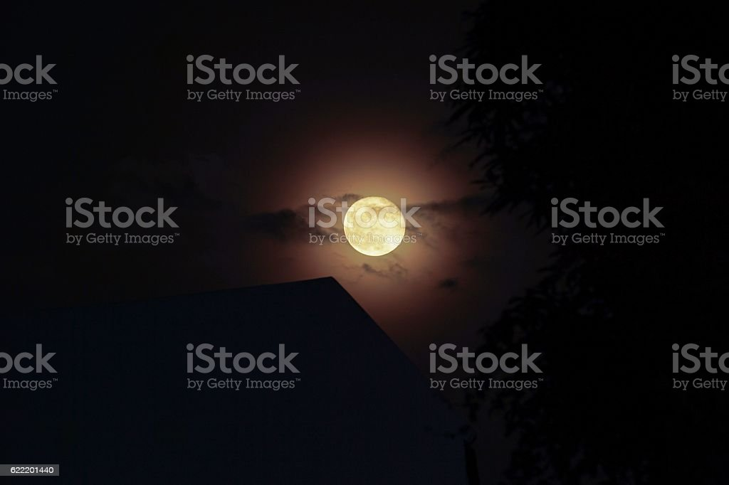 Full moon light the roof royalty-free stock photo