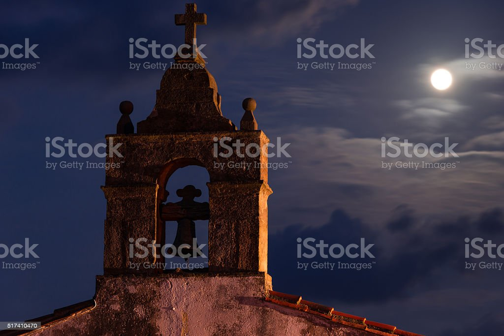 Full moon night on the belfry stock photo