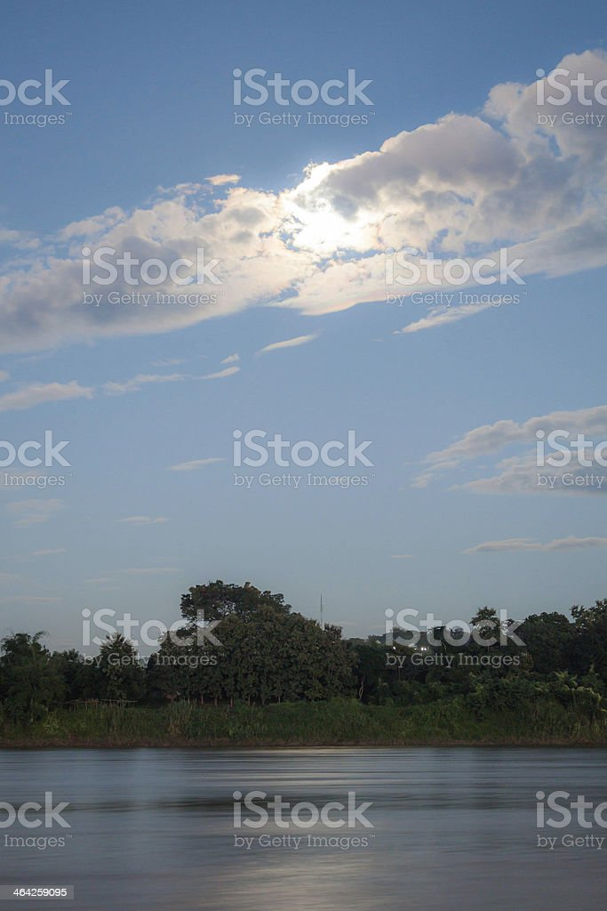 Full moon night wrap up clouds stock photo
