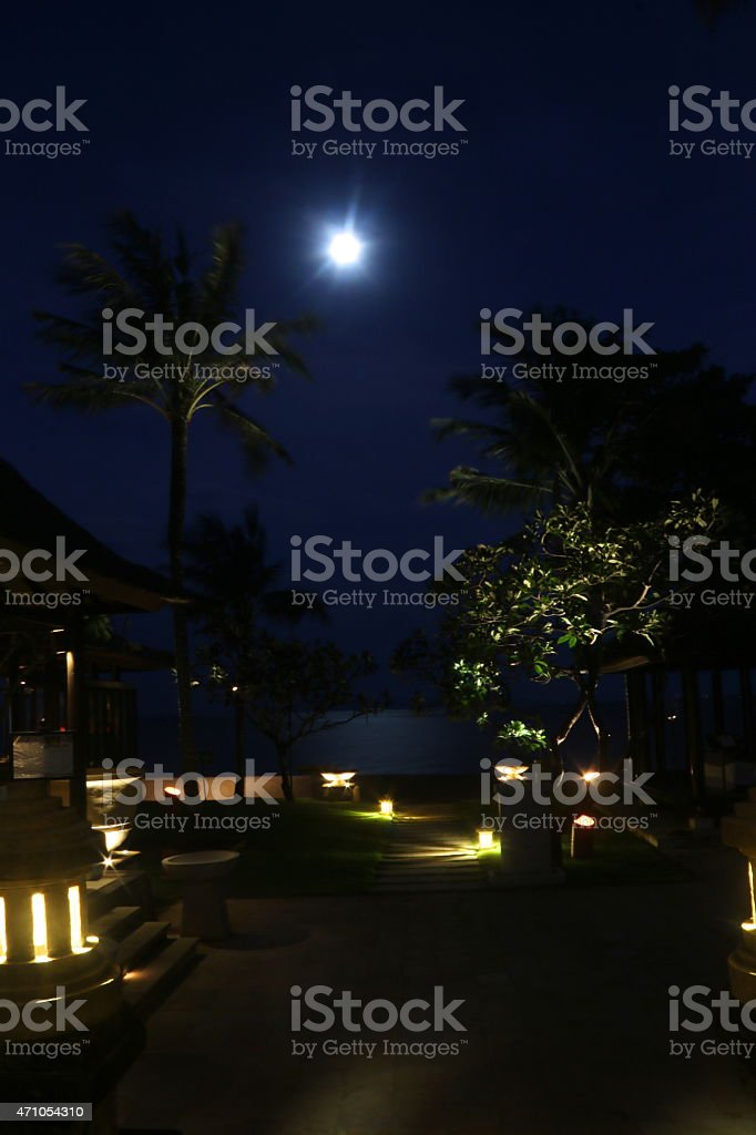 Full Moon on a Seaside Resort stock photo