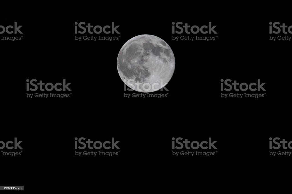 Full moon on black background stock photo