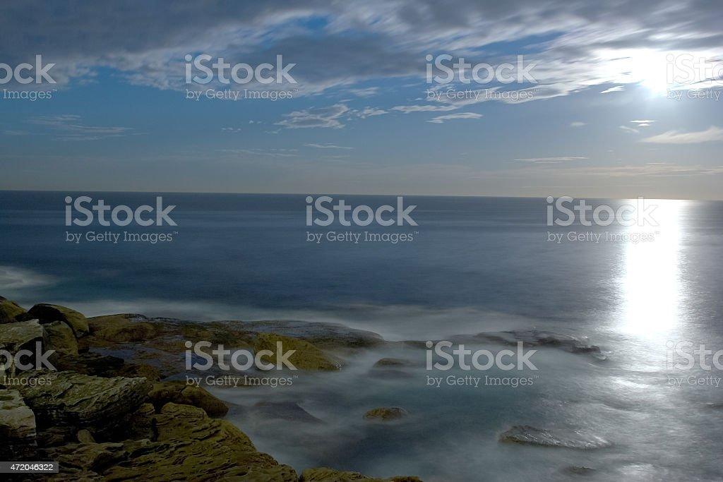 Full Moon on the sea stock photo