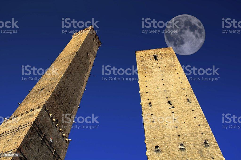 Full Moon over Bologna Towers, Italy. stock photo