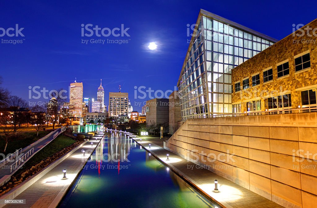 Full Moon over downtown Indianapolis, Indiana stock photo