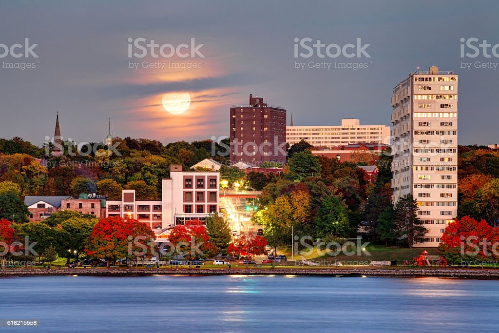 Full Moon over Downtown Poughkeepsie, New York stock photo