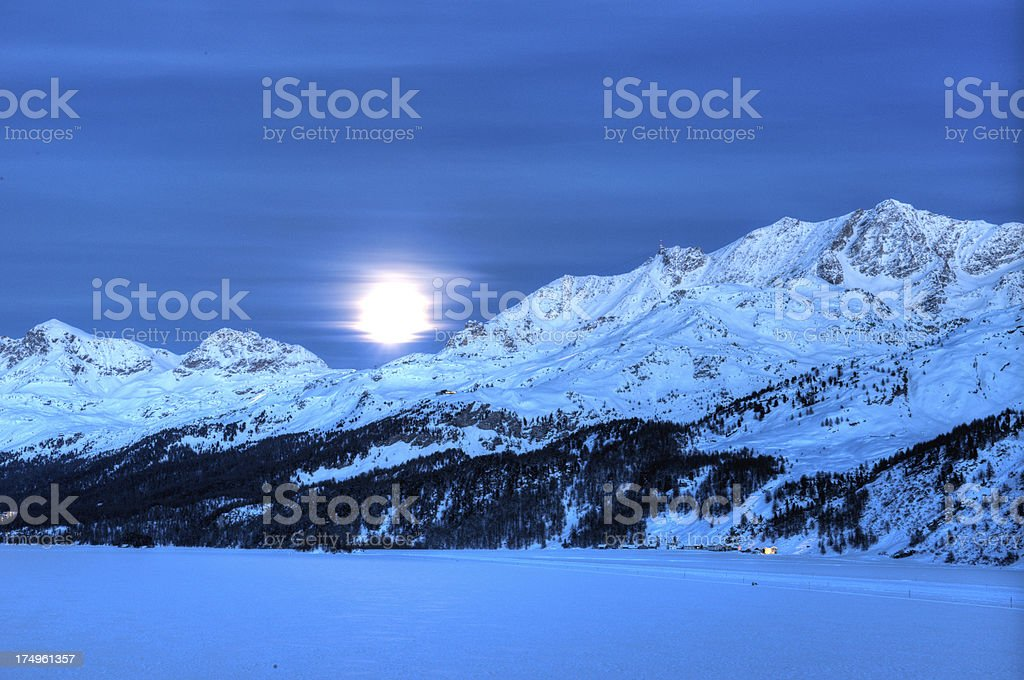 Full moon over frozen Lake stock photo