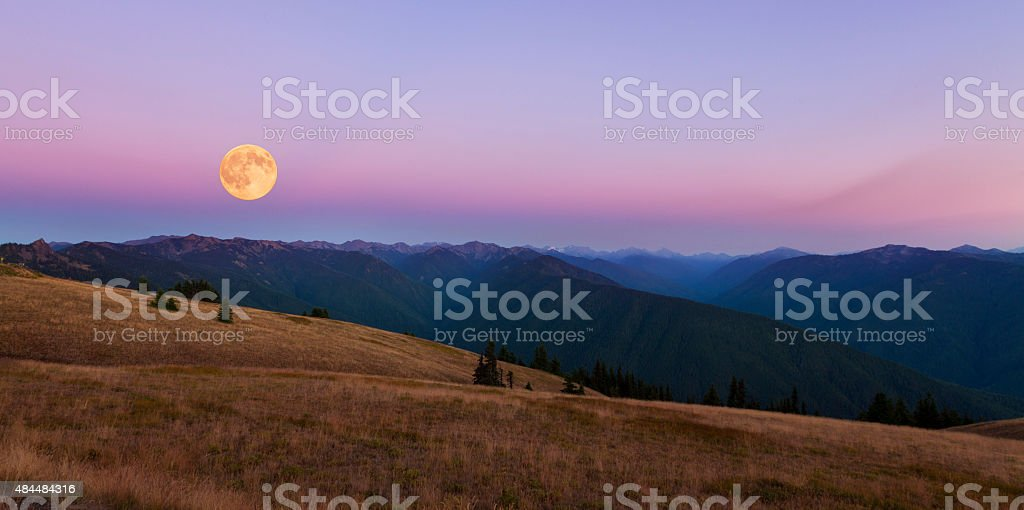 Full Moon over Hurricane Ridge stock photo