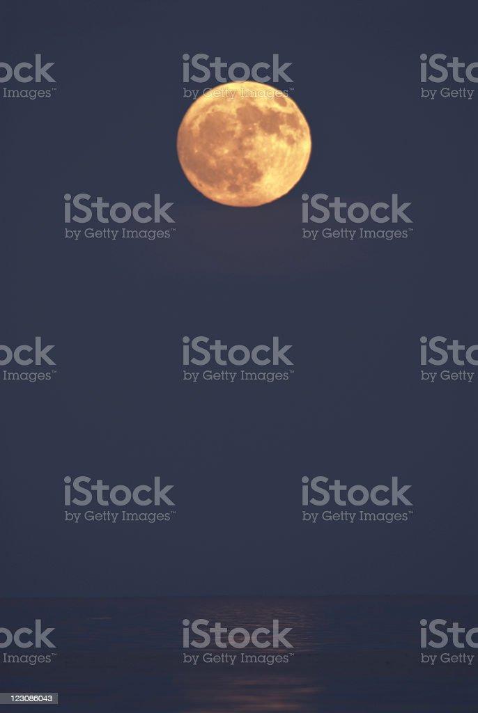 Full Moon Over Lake Huron stock photo