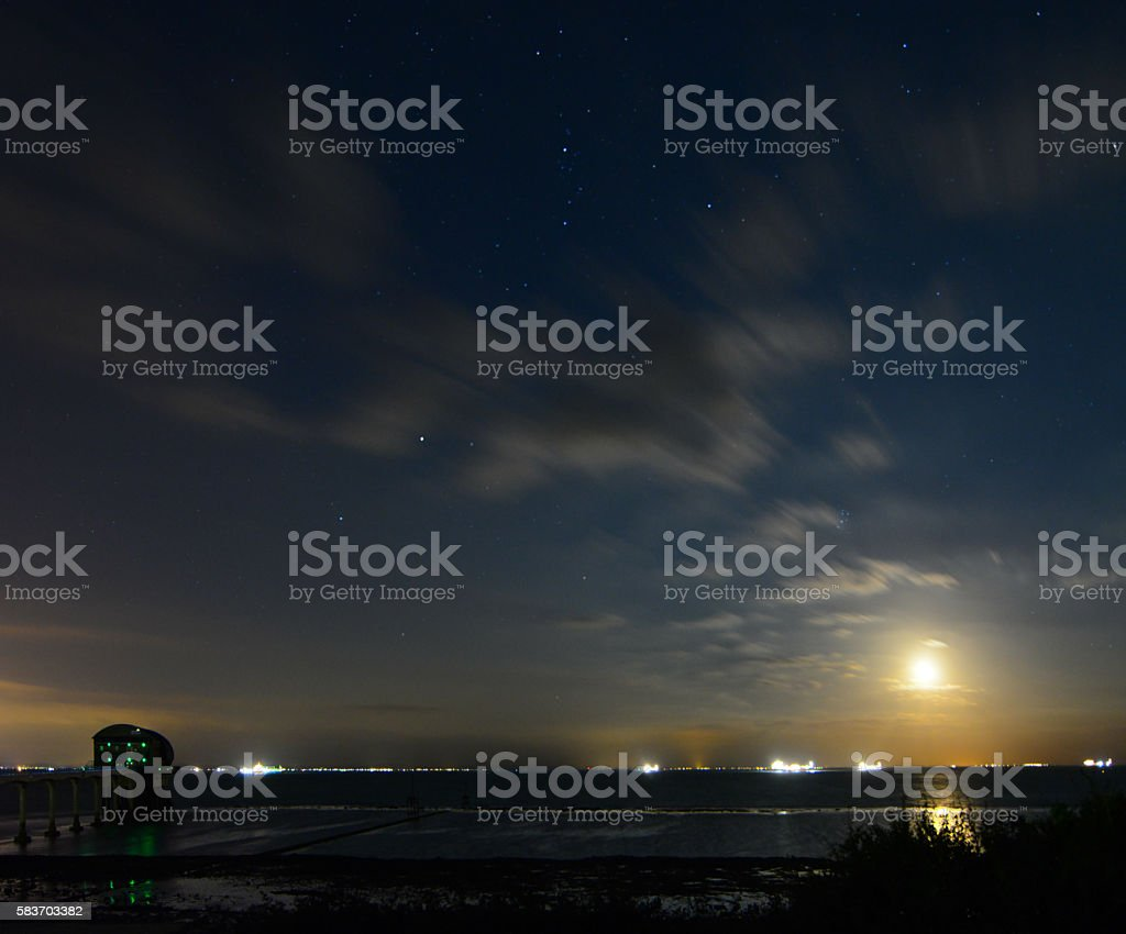 Full Moon Over Lifeboat Station stock photo