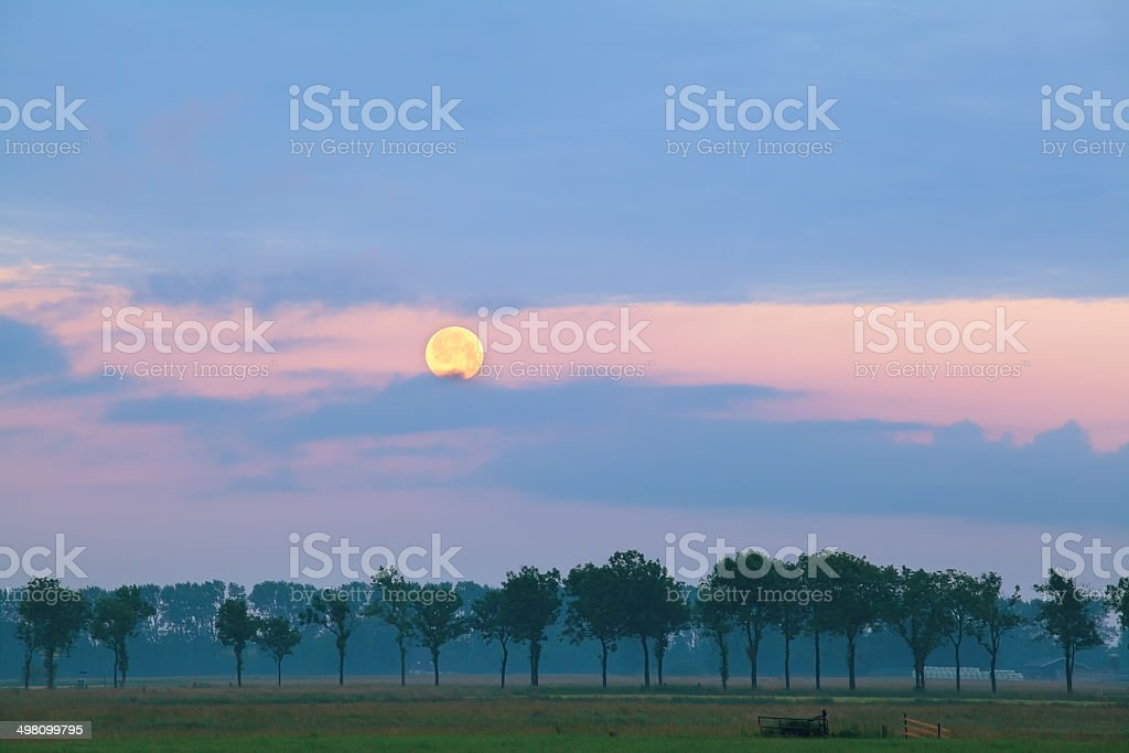 full moon over meadows at sunrise stock photo
