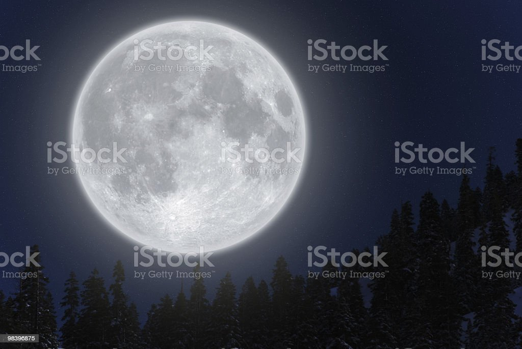 Full moon over mountain royalty-free stock photo