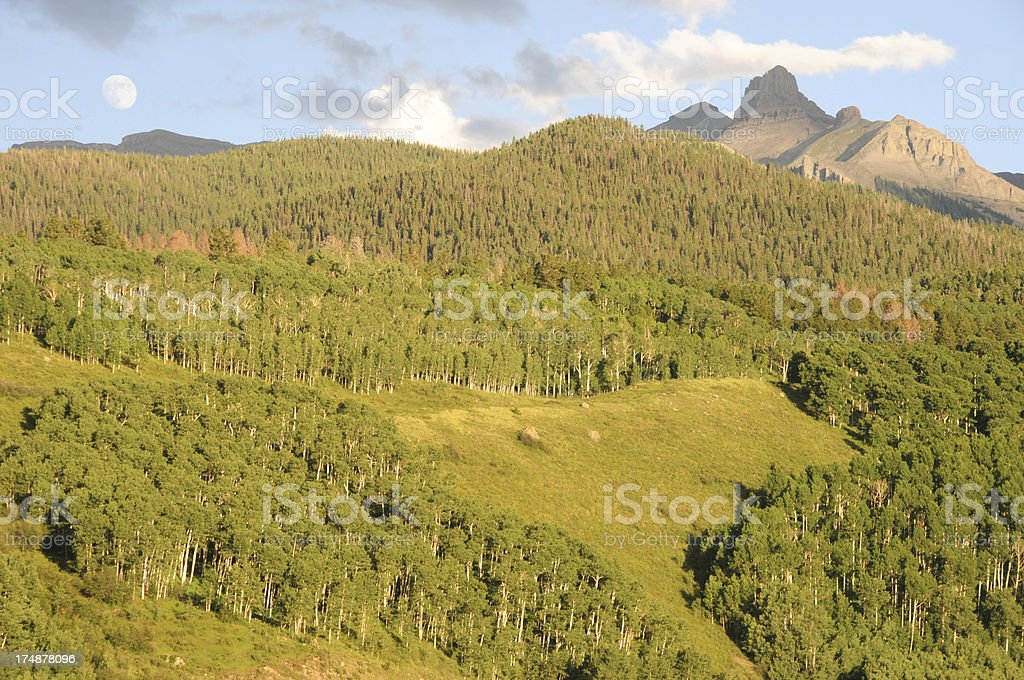 Full Moon over the San Juan Mountains in Colorado royalty-free stock photo