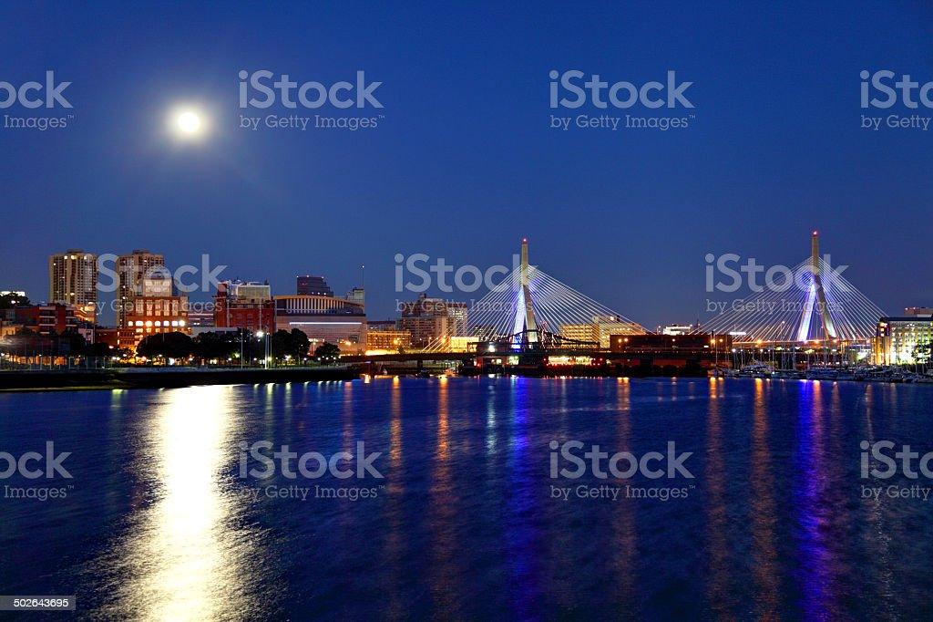 Full moon over the Zakim Bridge in Boston, Massachusetts stock photo