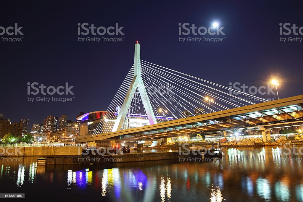 Full Moon over the Zakim Bridge stock photo