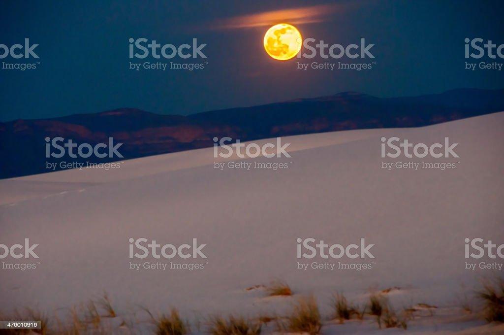 Full Moon Over White Sands National Monument stock photo