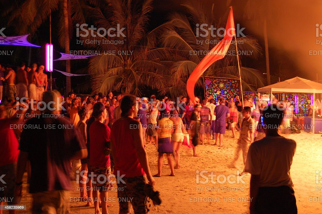 Full moon party, Haad Rin, Koh Phangan island - Thailand stock photo