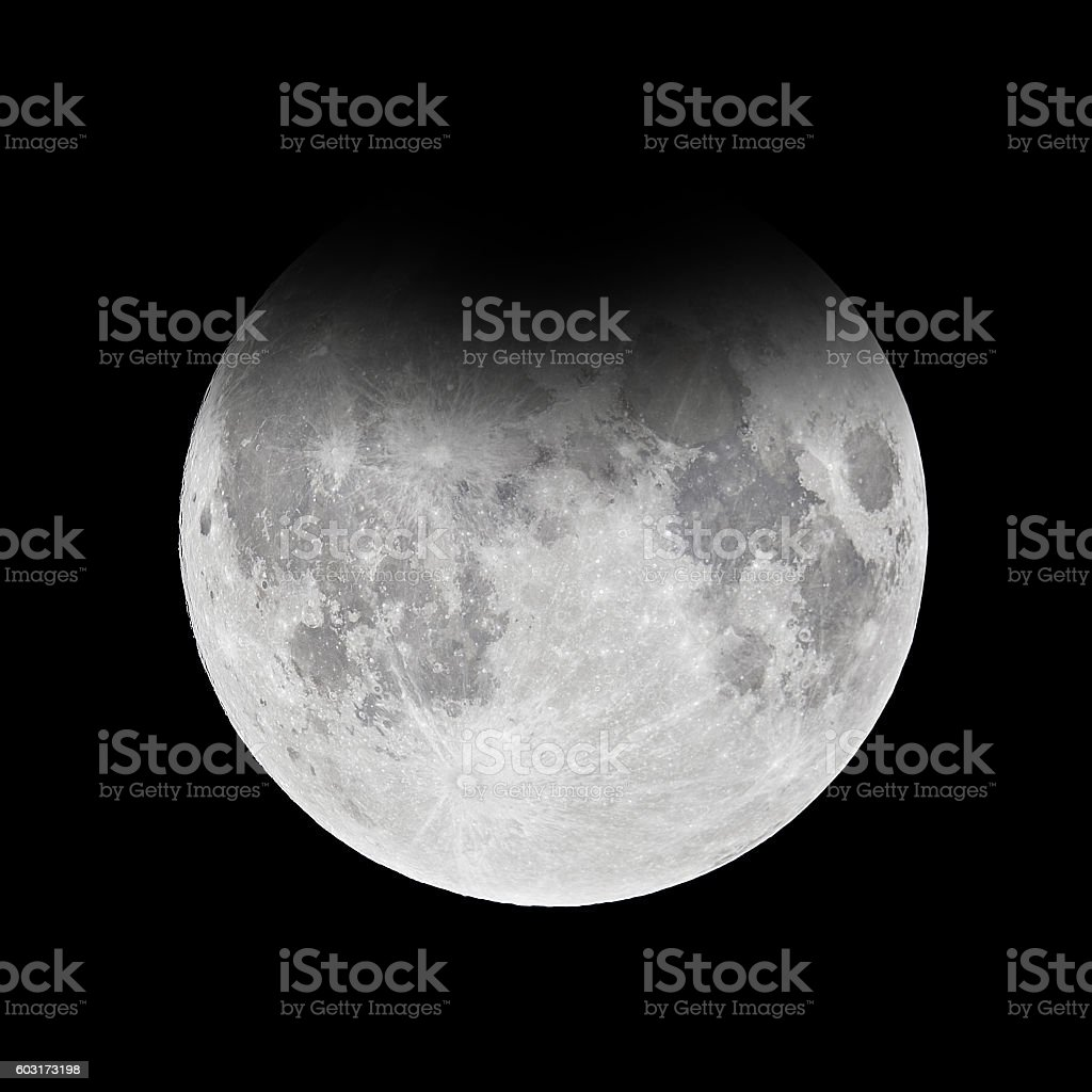 Full moon - penumbral lunar eclipse stock photo