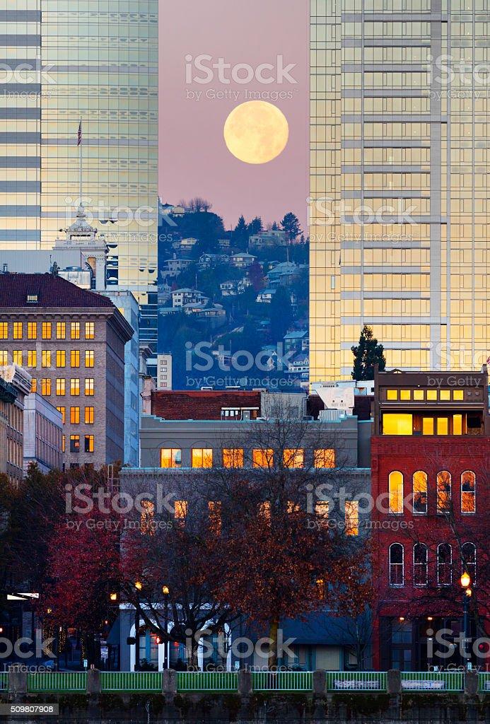 Full Moon Portland Oregon. stock photo