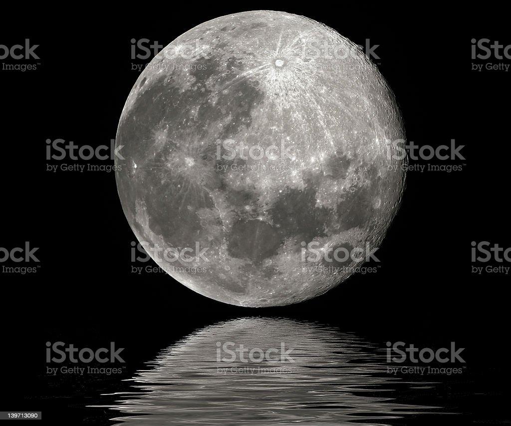 Full moon reflection royalty-free stock photo