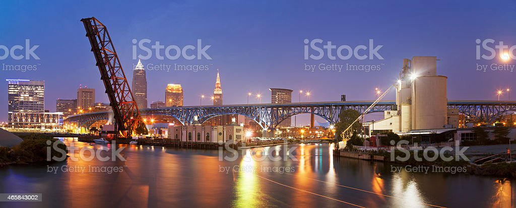 Full moon rising in Cleveland stock photo