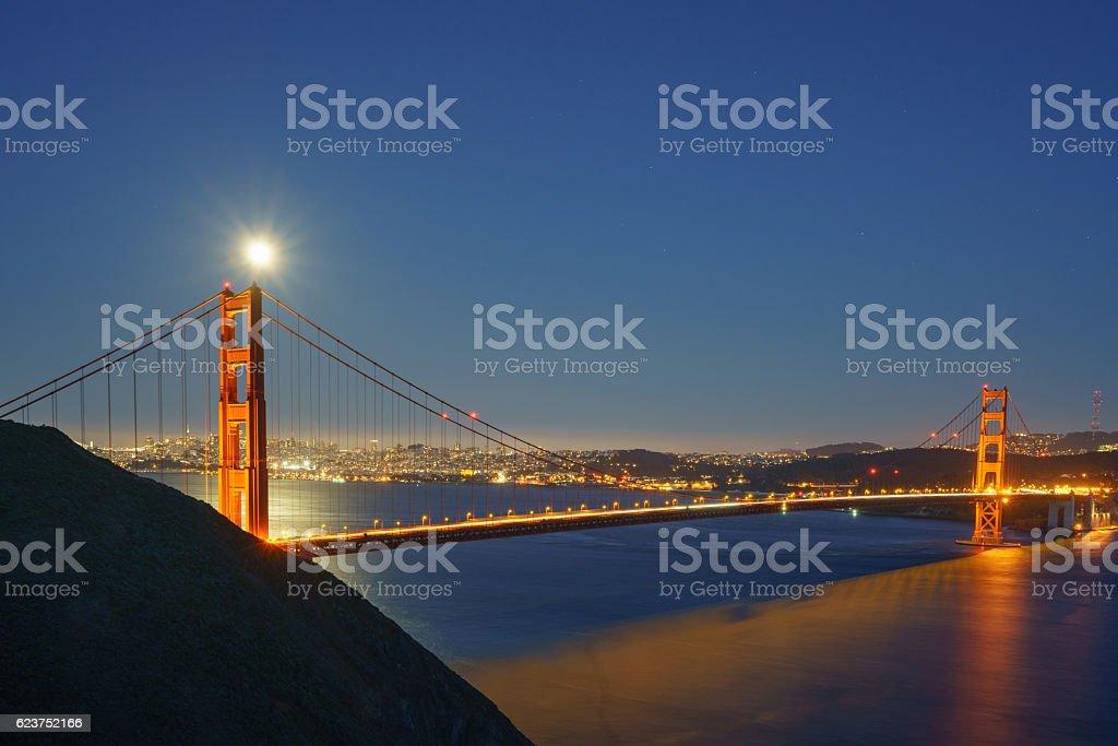 Full Moon Rising over Golden Gate Bridge royalty-free stock photo