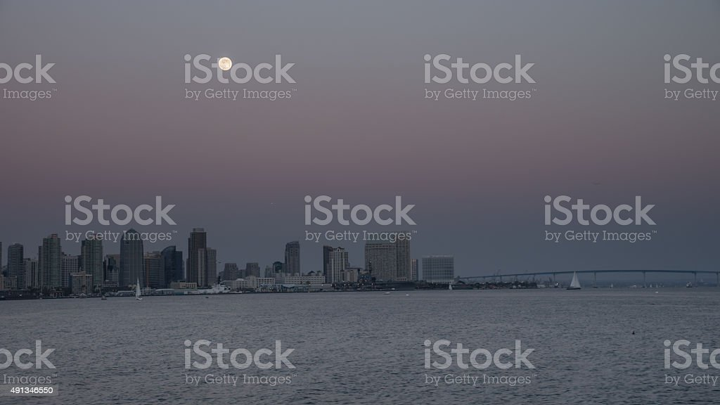Full Moon Rising Over San Diego stock photo