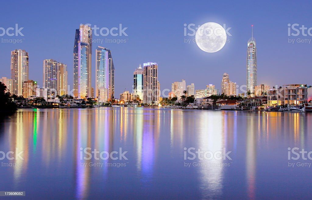 Full moon rising over Surfers Paradise stock photo