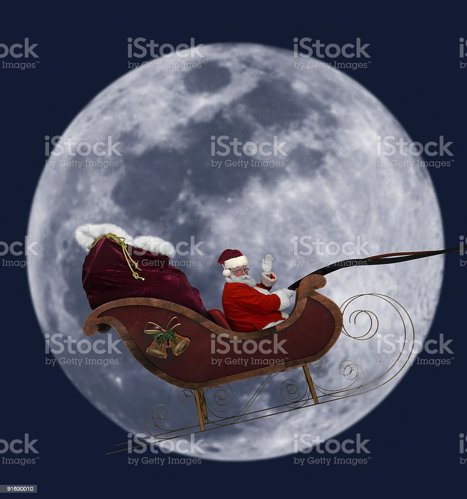 Full Moon Santa stock photo