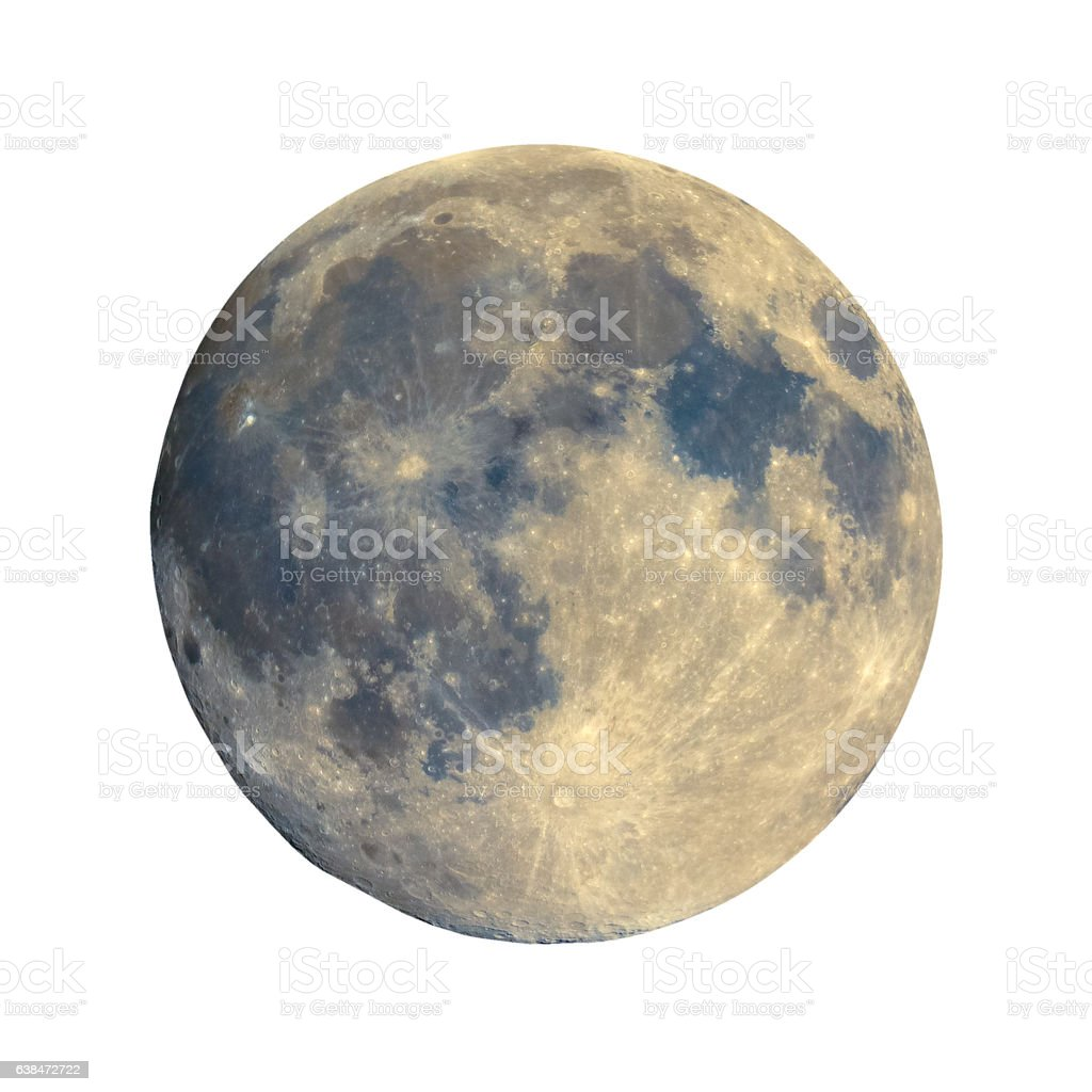 Full moon seen with telescope, enhanced colours, isolated stock photo