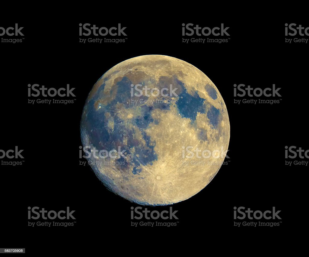 Full moon seen with telescope, enhanced colours stock photo