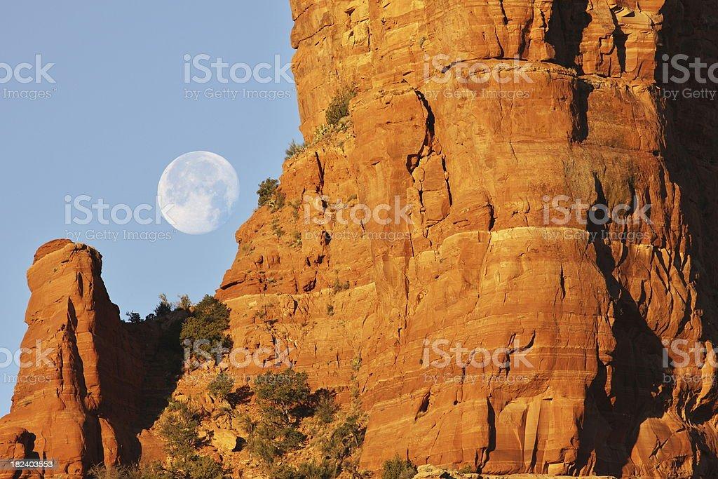 Full Moon Sunrise Desert Butte royalty-free stock photo