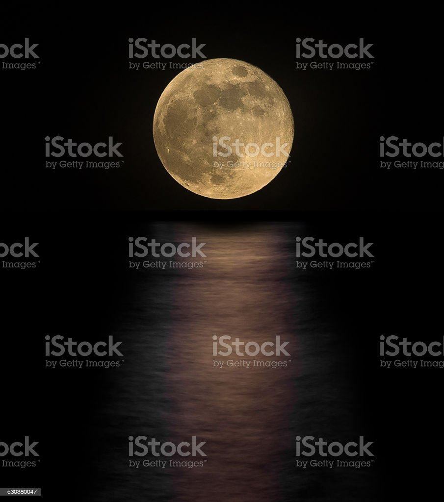 full moon with reflection stock photo