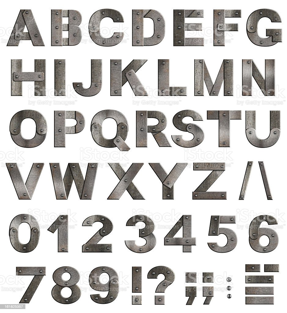 Full old metal alphabet letters, digits and punctuation marks stock photo