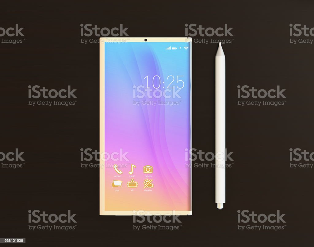 Full OLED display smart phone and digital pen stock photo