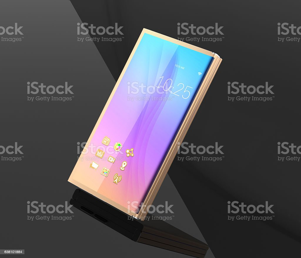 Full OLED display smart phone isolated on dark background stock photo