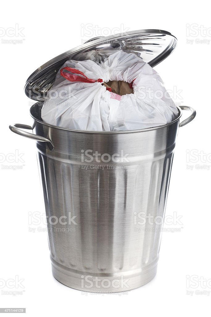 Full Overflow Garbage Can with Plastic Bag on White Background royalty-free stock photo