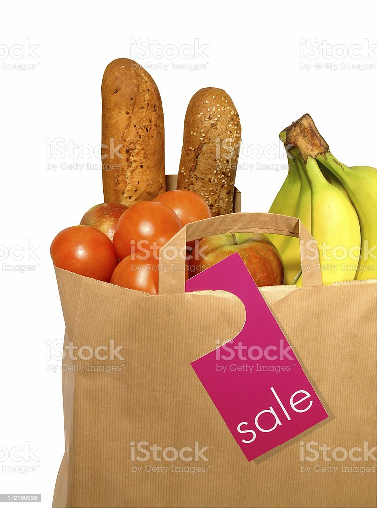 Full Paper Bag with Products in Sale, path included stock photo