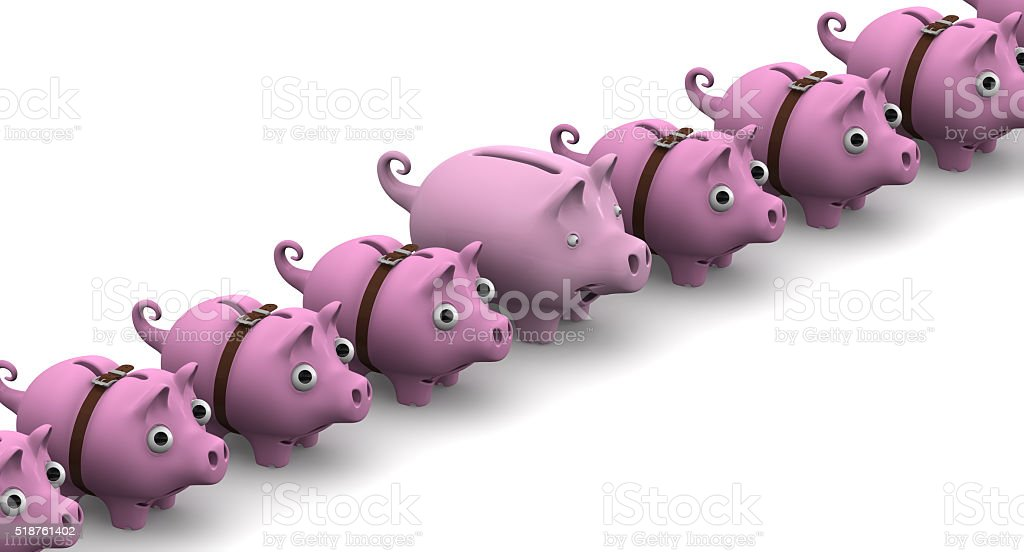 Full piggy bank in a row of empty stock photo