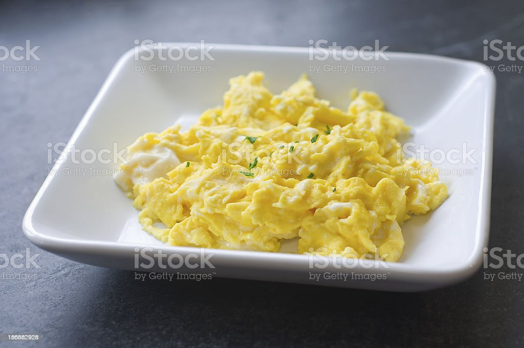 Full Plate of Scrambled Eggs stock photo