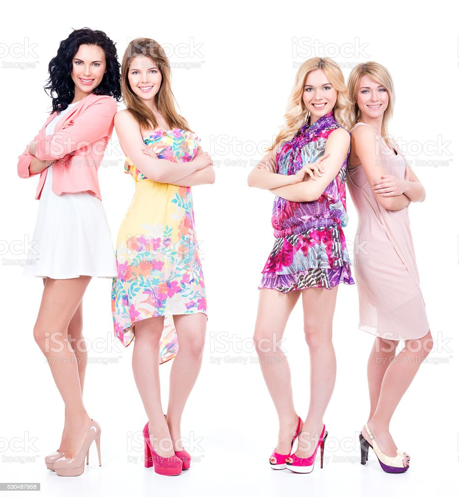 Full portrait of group young happy women stock photo