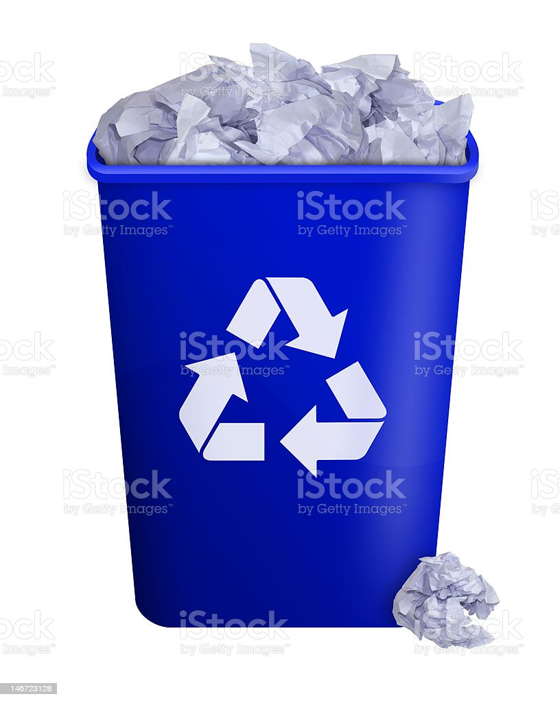 Full recycling bin stock photo