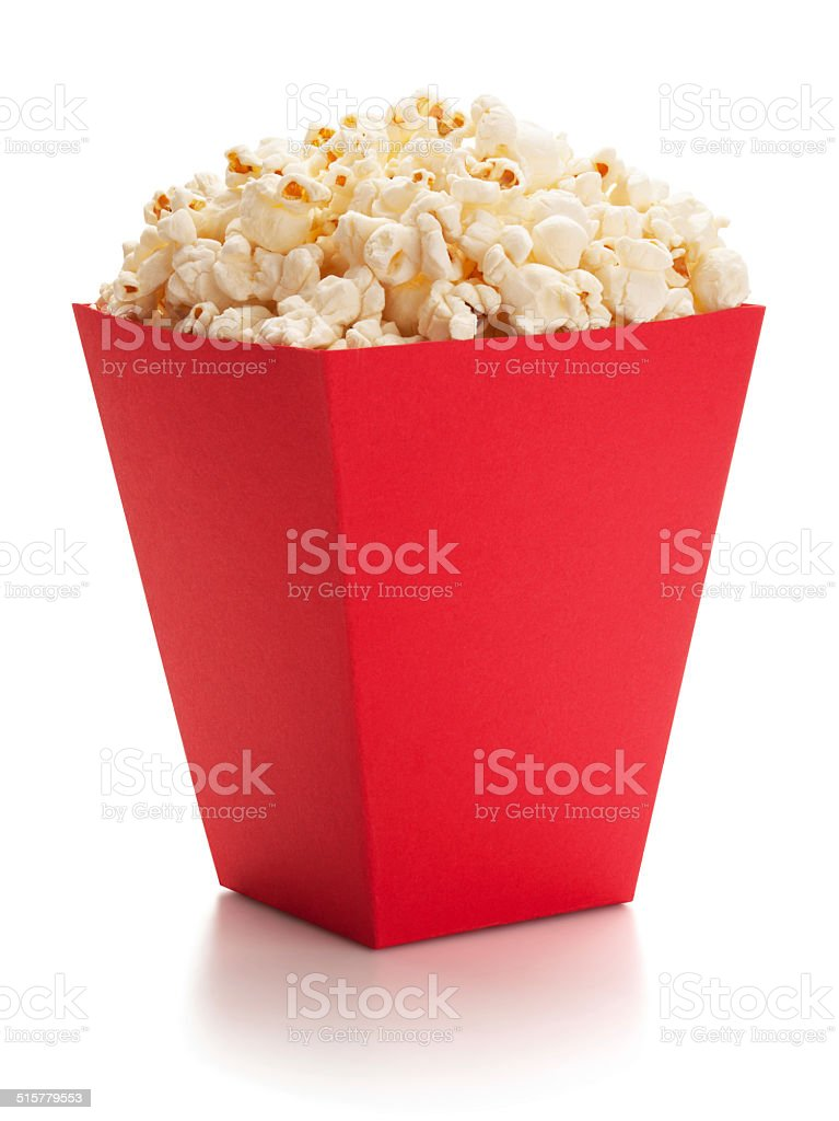 Full red bucket of popcorn. stock photo
