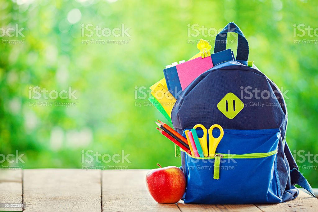 Full School backpack with apple on wooden and nature background. stock photo