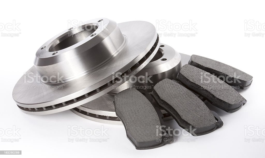 Full Set Brake Discs and Pads stock photo
